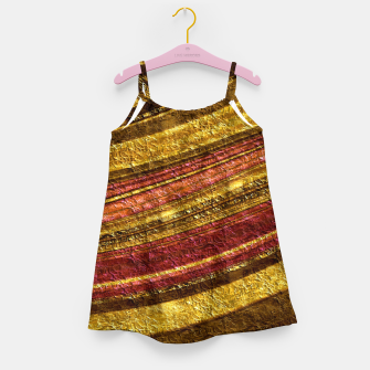 Thumbnail image of Foil golden wave textured print brown red yellow colors Girl's dress, Live Heroes