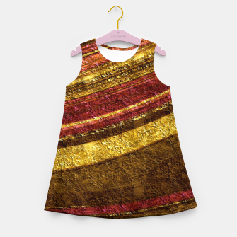 Thumbnail image of Foil golden wave textured print brown red yellow colors Girl's summer dress, Live Heroes