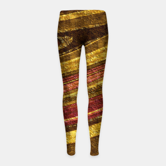Thumbnail image of Foil golden wave textured print brown red yellow colors Girl's leggings, Live Heroes