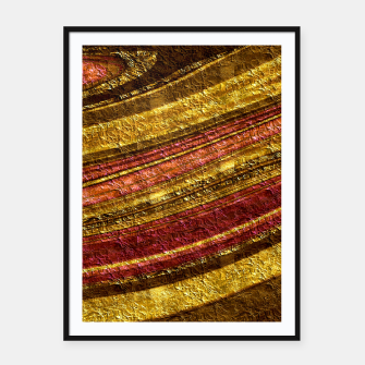 Thumbnail image of Foil golden wave textured print brown red yellow colors Framed poster, Live Heroes