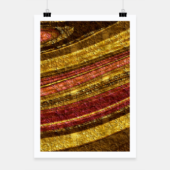 Thumbnail image of Foil golden wave textured print brown red yellow colors Poster, Live Heroes