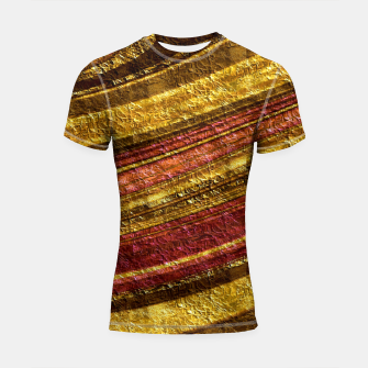 Thumbnail image of Foil golden wave textured print brown red yellow colors Shortsleeve rashguard, Live Heroes