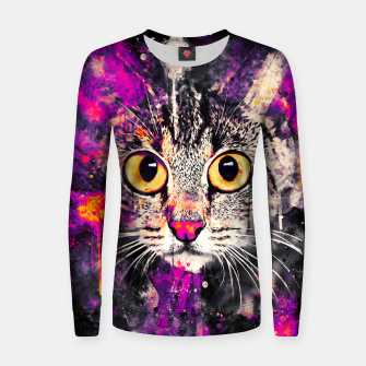 Thumbnail image of cat big eyes wslsh Women sweater, Live Heroes