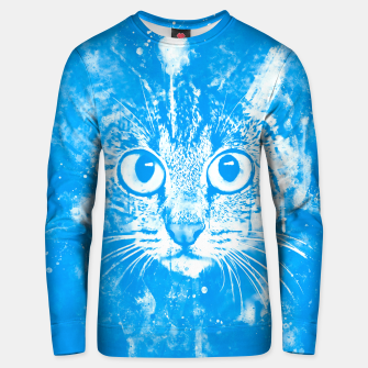 cat big eyes wswb Unisex sweater thumbnail image