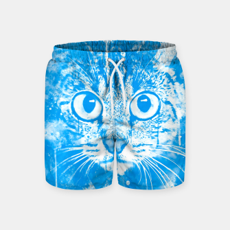cat big eyes wswb Swim Shorts thumbnail image