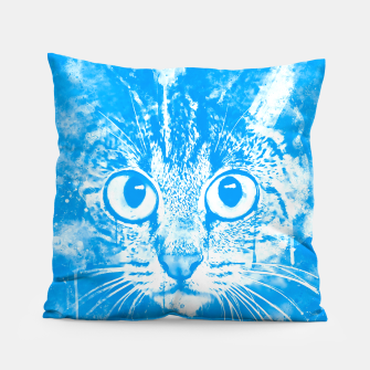 Thumbnail image of cat big eyes wswb Pillow, Live Heroes