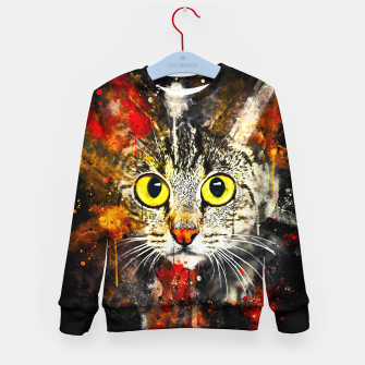 Miniature de image de cat big eyes wsstd Kid's sweater, Live Heroes