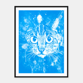 Miniature de image de cat big eyes wswb Framed poster, Live Heroes