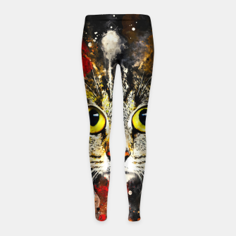 Miniature de image de cat big eyes wsstd Girl's leggings, Live Heroes