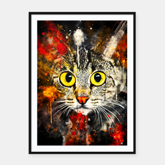 Thumbnail image of cat big eyes wsstd Framed poster, Live Heroes