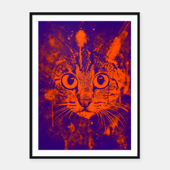 Thumbnail image of cat big eyes wsvo Framed poster, Live Heroes