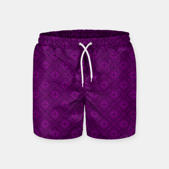 Thumbnail image of Geometric pattern purple fashionable elegant dark ornamental print Swim Shorts, Live Heroes