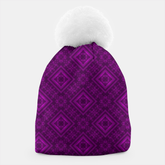 Thumbnail image of Geometric pattern purple fashionable elegant dark ornamental print Beanie, Live Heroes