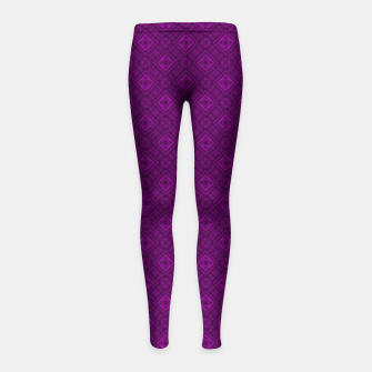 Thumbnail image of Geometric pattern purple fashionable elegant dark ornamental print Girl's leggings, Live Heroes