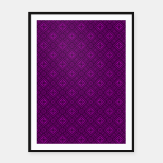 Thumbnail image of Geometric pattern purple fashionable elegant dark ornamental print Framed poster, Live Heroes