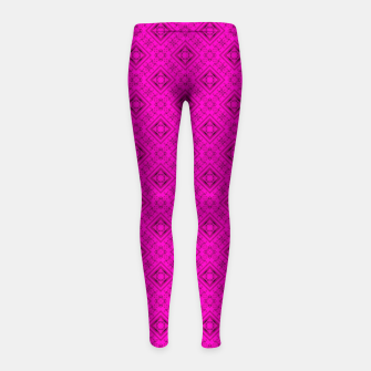 Thumbnail image of Neon bright ornamental pink pattern decoration summer  Girl's leggings, Live Heroes