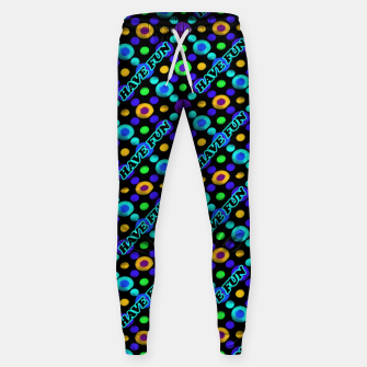 Thumbnail image of Have Fun Multicolored Text Pattern Sweatpants, Live Heroes