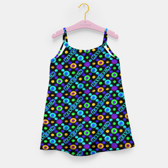 Thumbnail image of Have Fun Multicolored Text Pattern Girl's dress, Live Heroes