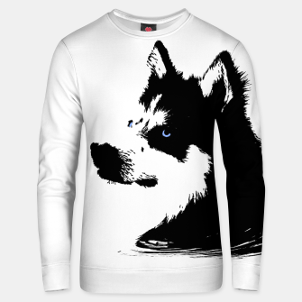 Miniatur Husky Head with blue Eyes Unisex sweatshirt, Live Heroes
