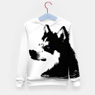 Miniatur Husky Head with blue Eyes Kindersweatshirt, Live Heroes