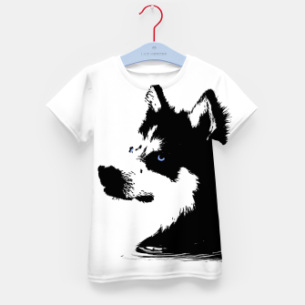 Miniatur Husky Head with blue Eyes T-Shirt für kinder, Live Heroes