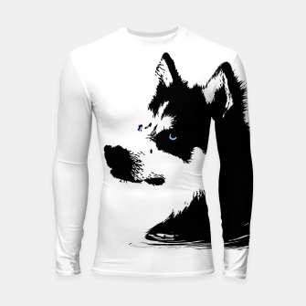 Miniatur Husky Head with blue Eyes Longsleeve rashguard, Live Heroes