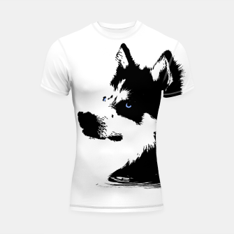 Miniatur Husky Head with blue Eyes Shortsleeve rashguard, Live Heroes