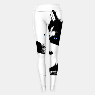 Miniatur Husky Head with blue Eyes Leggings, Live Heroes
