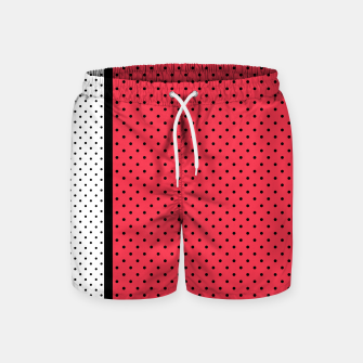 Thumbnail image of Red black white polka dots circles retro vintage design pattern Swim Shorts, Live Heroes