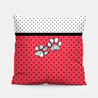 Miniatur Red black white polka dots circles retro vintage design pattern Pillow, Live Heroes