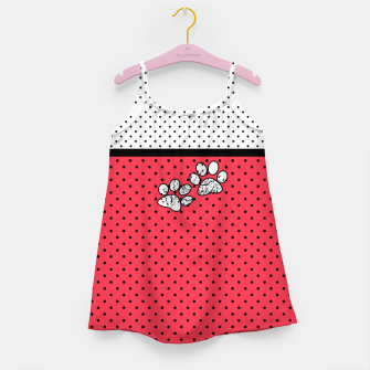 Thumbnail image of Red black white polka dots circles retro vintage design pattern Girl's dress, Live Heroes