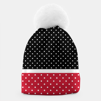 Thumbnail image of Red black white polka dots circles retro vintage design pattern Beanie, Live Heroes