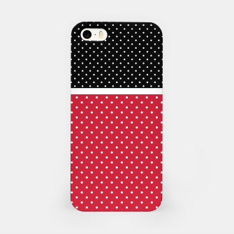 Miniatur Red black white polka dots circles retro vintage design pattern iPhone Case, Live Heroes