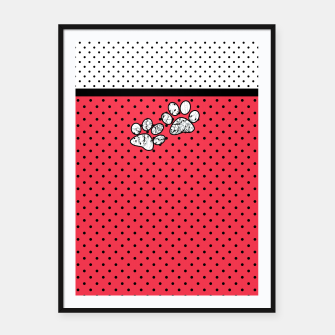 Miniatur Red black white polka dots circles retro vintage design pattern Framed poster, Live Heroes