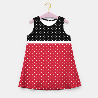 Miniatur Red black white polka dots circles retro vintage design pattern Girl's summer dress, Live Heroes