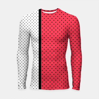 Thumbnail image of Red black white polka dots circles retro vintage design pattern Longsleeve rashguard , Live Heroes