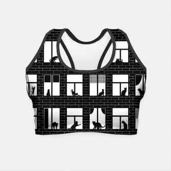 Thumbnail image of Feline Towers Cat Pattern Crop Top, Live Heroes