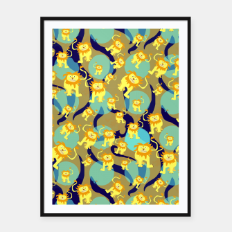 Thumbnail image of Lions Pattern Framed poster, Live Heroes