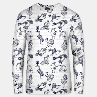Sketched inked birds fairy fantasy white Unisex sweater thumbnail image
