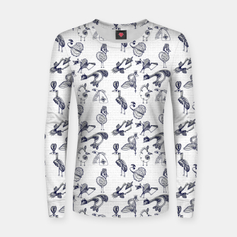 Sketched inked birds fairy fantasy white Women sweater thumbnail image