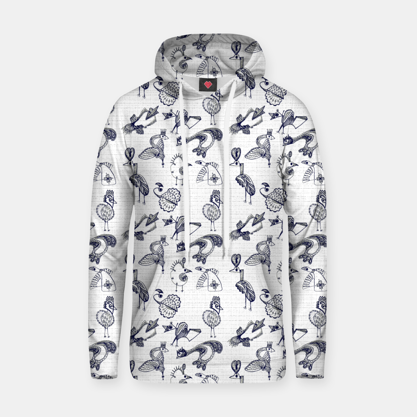 Image of Sketched inked birds fairy fantasy white Hoodie - Live Heroes