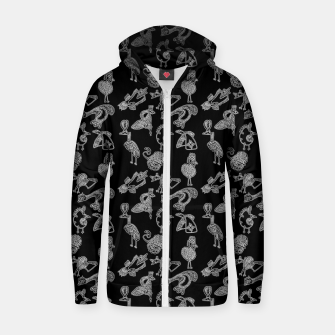 Sketched inked birds fairy fantasy black Zip up hoodie thumbnail image