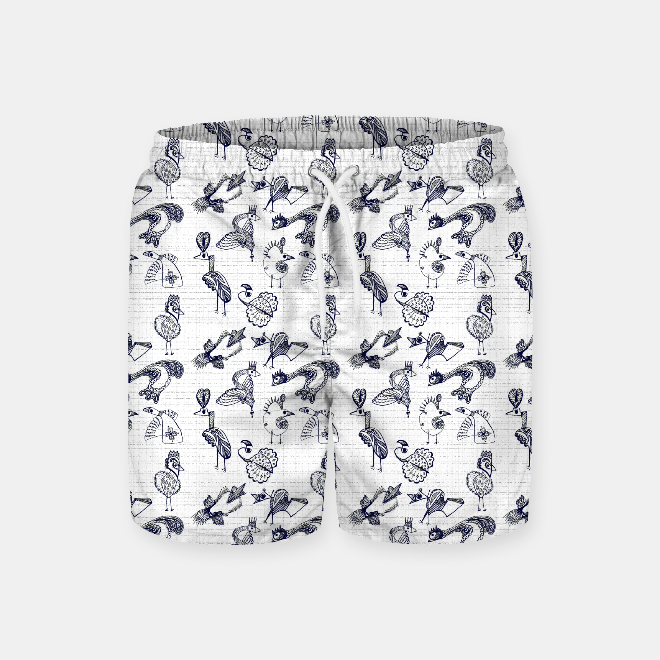 Image of Sketched inked birds fairy fantasy white Swim Shorts - Live Heroes