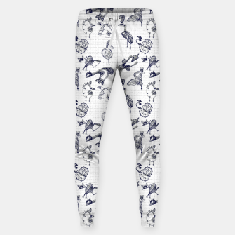 Sketched inked birds fairy fantasy white Sweatpants thumbnail image