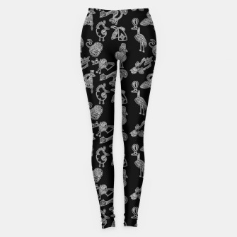 Sketched inked birds fairy fantasy black Leggings thumbnail image