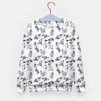 Thumbnail image of Sketched inked birds fairy fantasy white Kid's sweater, Live Heroes