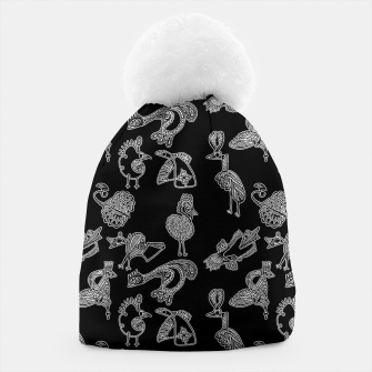 Thumbnail image of Sketched inked birds fairy fantasy black Beanie, Live Heroes