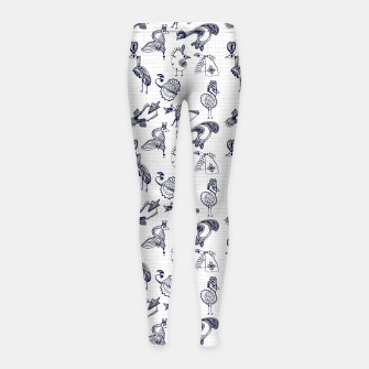 Thumbnail image of Sketched inked birds fairy fantasy white Girl's leggings, Live Heroes