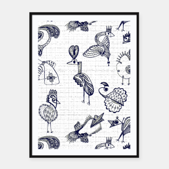 Sketched inked birds fairy fantasy white Framed poster thumbnail image