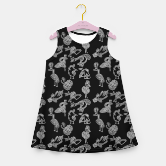 Thumbnail image of Sketched inked birds fairy fantasy black Girl's summer dress, Live Heroes